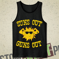 Suns Out, Guns Out Tank - Tee - T-Shirt - Shirt - Workout - Bodybuilder - Muscle - Weights - Funny - Summer - Summertime - Sunshine