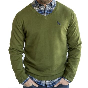 Basil Green Cotton V-Neck Sweater Sizes M, XL & XXL Available