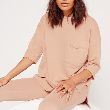 Missguided - Pocket Front T Shirt Sweater Nude