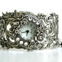 Gothic Bracelet Watch - Swarovski Crystals - by LeBoudoirNoir on Etsy