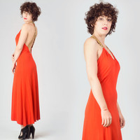 70s Red Open Back Evening Maxi Dress & Matching Sheer Jacket / Sequined Gold Cocktail Christmas 2 Piece Outfit / Crossed Back Medium Suit