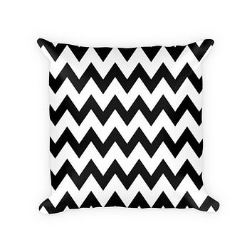 Chevron Large Pattern Woven Cotton Throw Pillow