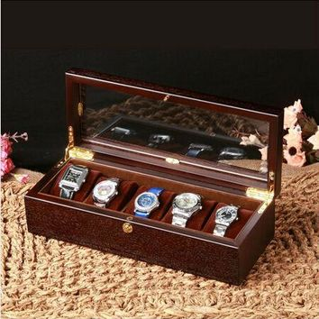 retro 5-grid black walnut wooden watch box wood watches case with glass window watches box reloj patek watch MSBH004b