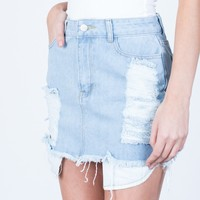 Shredded Mini Denim Skirt