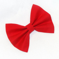 Red Hair Bow Vintage Inspired Hair Clip Rockabilly Pin up Teen Woman