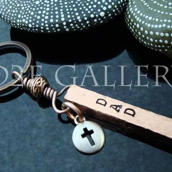 SALE D2E personalized engraved hand stamped hammered copper bar keychain