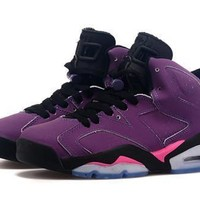 Hot Air Jordan 6 Retro Women Shoes Purple Black Pink