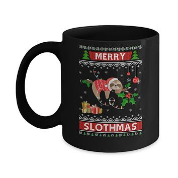 Merry Slothmas Funny Sloth Ugly Christmas Sweater Mug