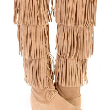 Beige Suede Boot with Fringe and Lace Up Front