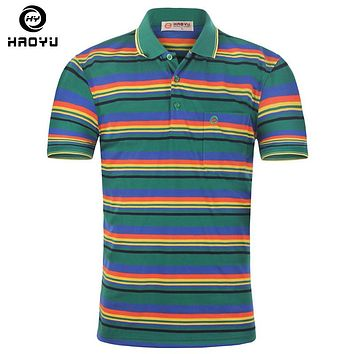 Men's Polo Shirt Famous Short Striped Contrast Color Polo Clothing