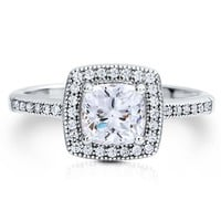 BERRICLE Sterling Silver Cushion Cut Cubic Zirconia CZ Halo Womens Engagement Wedding Bridal Ring