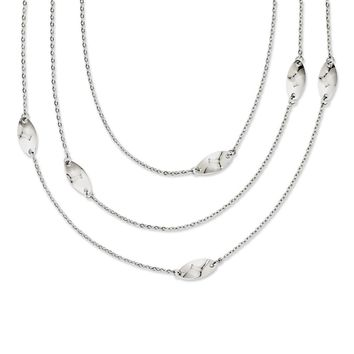 Stainless Steel Multi Chain with Polished Swirl Layered Slip-on Necklace