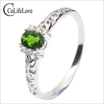 Promotion natural chrome diopside ring real 925 sterling silver engagement ring for woman fashion silver Russian Emerald jewelry