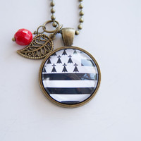 Flag of Brittany Necklace - Region of France - French Flag - Patriotic Jewelry - Custom Jewelry - Black and White - Flag Necklace - Rennes