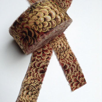 Rag Rug Fabric Strips Pinecones Brown Gold Fabric Yarn