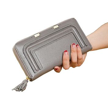 Fashion Women's Genuine Leather Wallets Female Real Natural Leather Purse Ladies Leisure Cowhide Tassel Phone Coin Wallets 8636