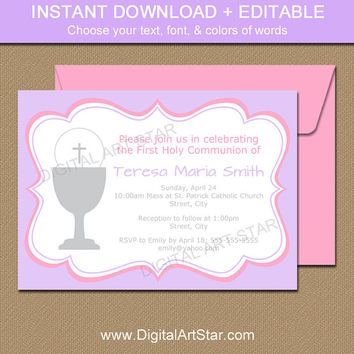 First Communion Invitation Girl - Printable Girl First Communion Invitation Digital Download - EDITABLE - Pink & Lavender Invitation