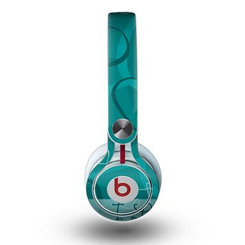 The Teal Swirly Vector Love Hearts Skin for the Beats by Dre Mixr Headphones