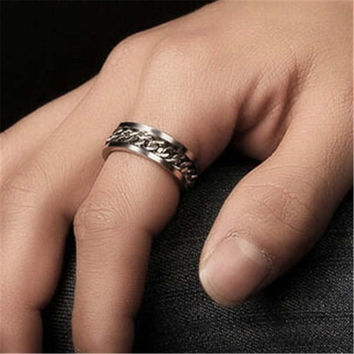 Womens Mens Chain Stainless Steel Ring Uniquering-103