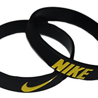 Nike NK2 Baller Band Silicone Rubber Basketball Baseball Football Running Wristband Bracelet (Black/Yellow)