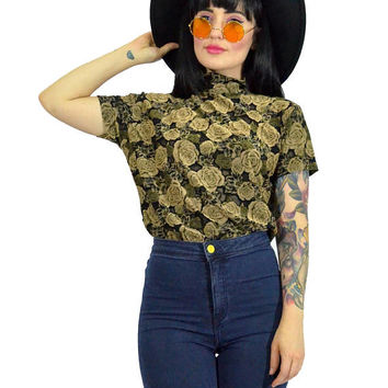 SALE vintage 90s floral burnout shirt mock neck grunge top sheer mesh tan ROSE minimalist blouse medium