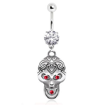 316L Surgical Steel Tribal Skull Navel Ring