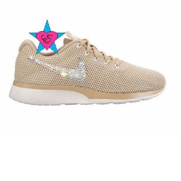 Crystal Bedazzled Gold Tan Nike Tanjun Womens Running Shoes