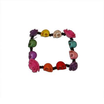 Skull and Flower Beaded Bracelet