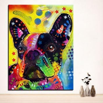 Large size Print Oil Painting Wall painting french bulldog Home Decorative Wall Art Picture For Living Room paintng No Frame