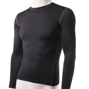 Pullover T Shirt Men Fitness Clothing Warm Base Layer Thermal Ultra-Soft Fleece Male Solid Color Tops