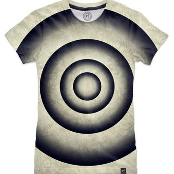 Abstract grunge gray blue 3D metal rings tunnel Women's T-Shirts by Natalia Bykova | Nuvango