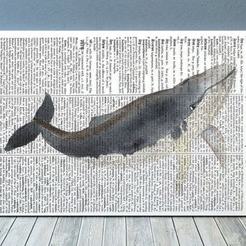 Whale decor Beach house print Nautical poster Dictionary print RTA1872