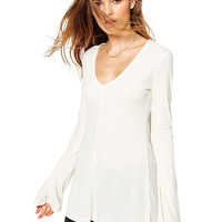 V-neck Bell Sleeve T-shirt