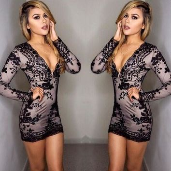 Casual Black Embroidery Deep V-neck Sequin Hip Bodycon Party Club Mini Dress