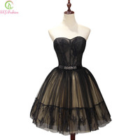 SSYFashion 2017 New Sexy Short Black Strapless Sleeveless Cocktail Dress Banquet Mini Lace Flower A-line Party Gown Formal Dress