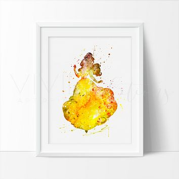 Belle 3, Beauty and the Beast Watercolor Art Print