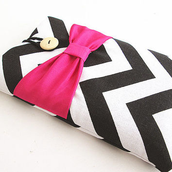 Chevron Ipad mini case, Ipad mini cover, Ipad mini sleeve-Hot Pink Bow.