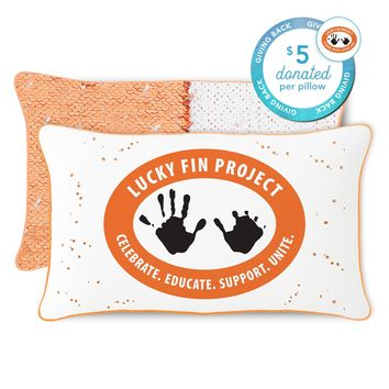 Lucky Fin Project Mermaid Pillow with Peach & White Reversible Sequins