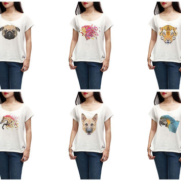 Women Animals in geometric pattern style Printed T-shirt WTS_01