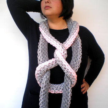 Chunky Snake Necklace Super Soft Chunky  Collar  Woman Fashion Circle Scarf Fiber Art Necklace UNIQUE PIECE