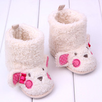 Warm Baby Girls Cotton Snow Boots Infant Toddler Winter Fur Soft Walking Shoes