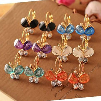New Fashion Exquisite the Crystal Earrings Multicolor Butterfly Stud Earrings for Women Jewelry