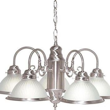 """Nuvo 76-695 - 5-Lights 22"""" Brushed Nickel Chandelier with Frosted Ribbed Shades"""
