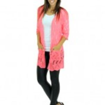 Neon Coral Knitted Cardigan