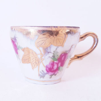 Vintage Tea Cups Saucers Porcelain Tea Set Gold Pink Rose Porcelain Demitasse Cups Gold Florals Lustre Ware Expresso Cups Saucers