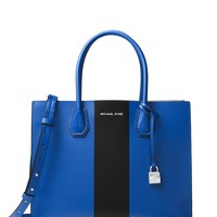 MICHAEL Michael Kors Mercer Large Leather Tote - Electric Blue / Black