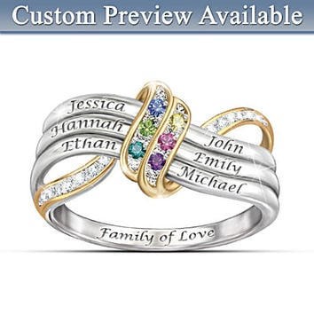 """""""Our Family's Forever Love"""" Name-Engraved Birthstone Ring"""
