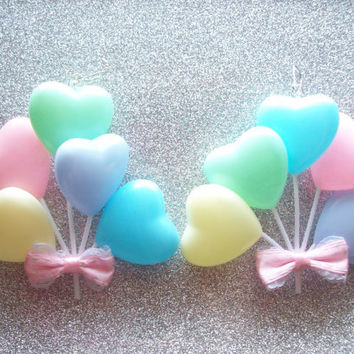 RESERVED for Lauren Garcia - Pastel Rainbow Heart Balloon Earrings