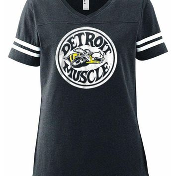 DCCKG8Q Made in Detroit Women's Super Bee Football V-Neck T-Shirt