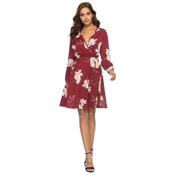 Womens V Neck Holiday Floral Print Dress Ladies Long Sleeve Party Dress
